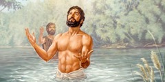 After being baptized in the Jordan River, Jesus looks heavenward
