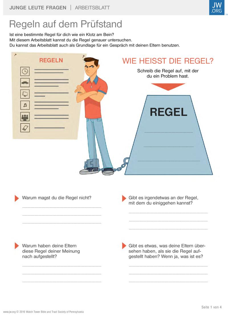Familienregeln auf dem Prüfstand | Arbeitsblätter für Teenager