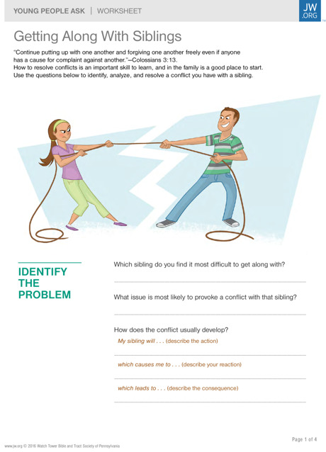 Getting Along With Siblings | Worksheets for Teenagers