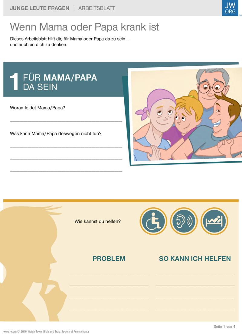 Wenn Mama oder Papa krank ist | Arbeitsblätter für Teenager