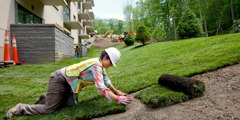 Landscapers lay sod on the Warwick site