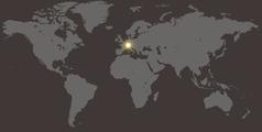 A world map showing Switzerland