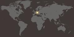 Eine Weltkarte, auf der Österreich hervorgehoben ist