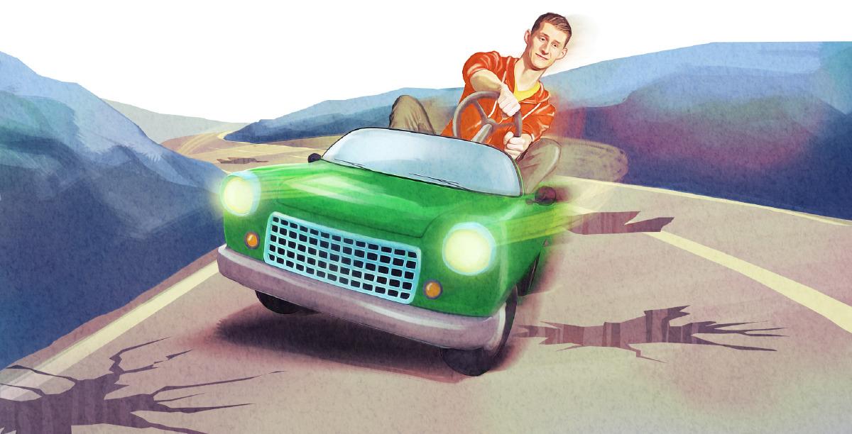 Un tânăr încearcă să evite gropile de pe drum