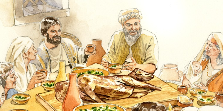 A family in Bible times eats the Passover meal