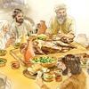 성경 시대에 한 가족이 유월절 식사를 하는 모습