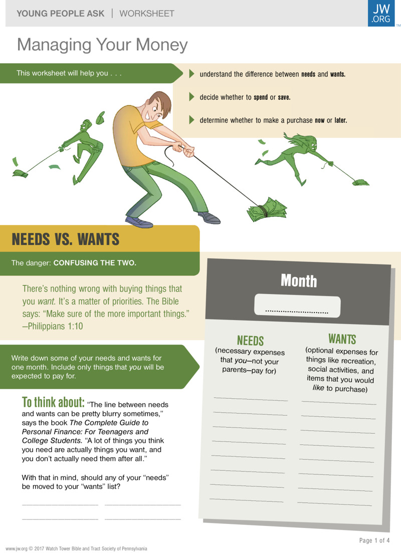 Managing Your Money Worksheets For Teenagers