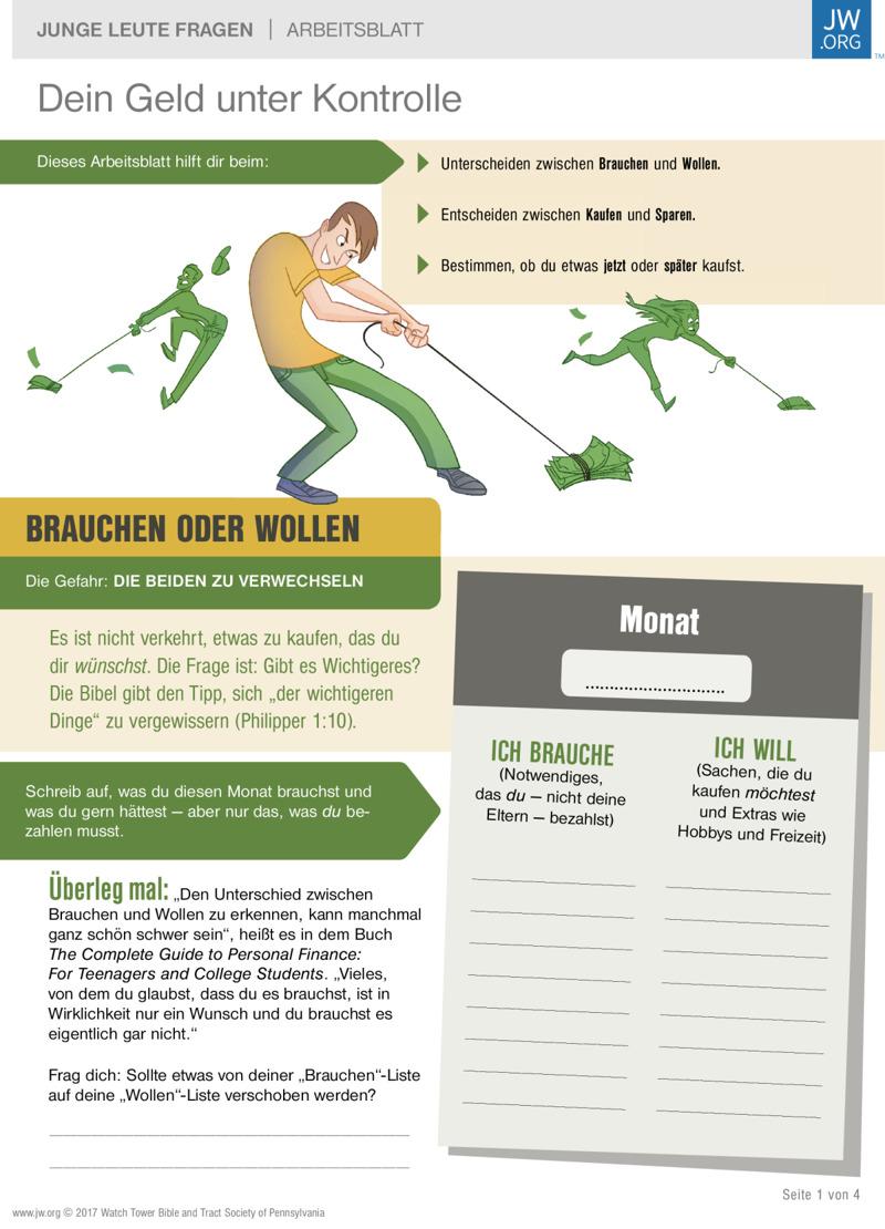 Dein Geld unter Kontrolle | Arbeitsblätter für Teenager