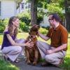 Egy házaspár egy kutyát simogat az egyik ház előtt