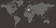 A world map showing Croatia