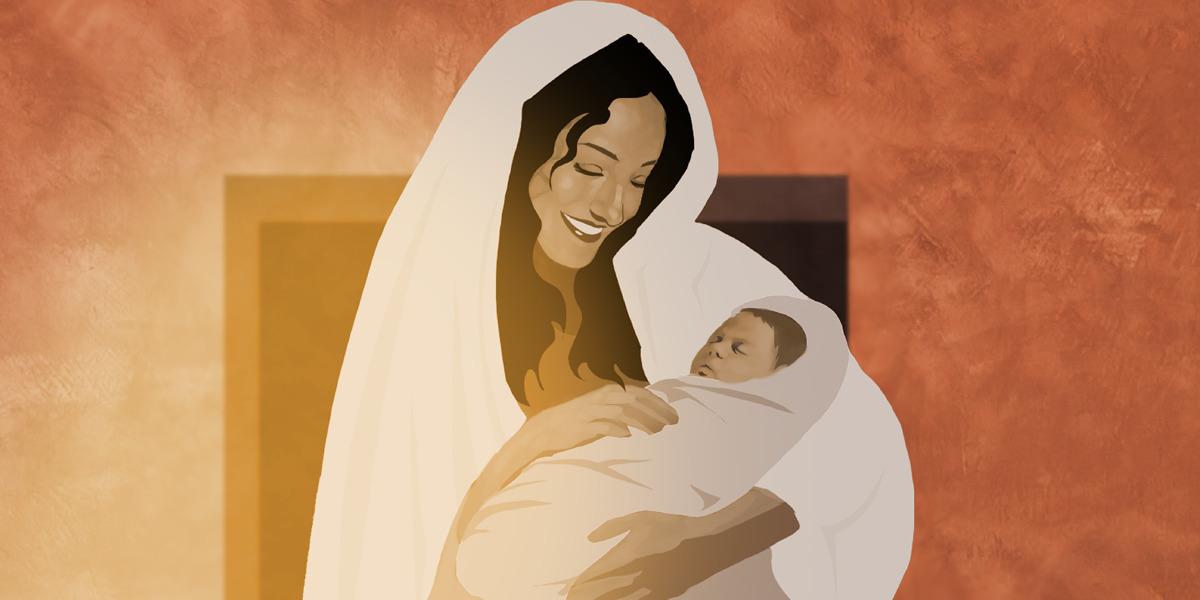 María con Jesús cuando era bebé