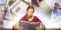 A teenager enhances her Bible reading using a timeline, the jw.org study Bible, a map, and a hand-drawn picture
