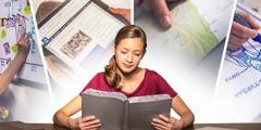 Une adolescente enrichit sa lecture de la Bible en utilisant une frise chronologique, la Bible d'étude jw.org, une carte géographique et un dessin fait à la main