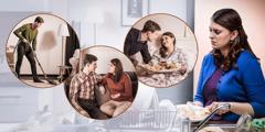 Manželka, která má hodně práce, myslí na to, jak jí manžel pomáhá s domácími pracemi, naslouchá jí a stará se o ni, když je nemocná