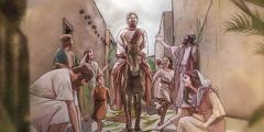 Gesù entra trionfalmente a Gerusalemme cavalcando un asino