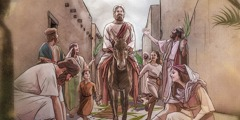 Jesus' triumphal ride into Jerusalem on a donkey