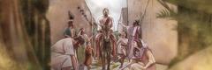 Jesus' triumphal ride into Jerusalem on a donkey