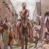 Jésus fait une entrée triomphale à Jérusalem, monté sur un âne