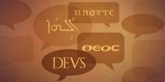 Snakkebobler med tekst på forskjellige språk