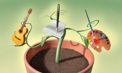 A potted plant appears to have a guitar, pen and paper, and an artist palette growing out of it