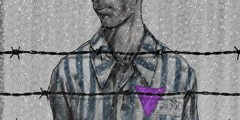 One of Jehovah's Witnesses, wearing a prison uniform with a purple triangle