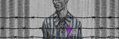 Un testigo de Jehová con un uniforme de preso con el triángulo púrpura