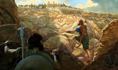 Jonathan and his armor-bearer charge up a steep slope toward an outpost of armed enemies