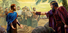 Jonathan tells his father, King Saul, that he is ready to die