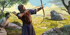 Jonathan prepares to shoot an arrow, as a signal to David