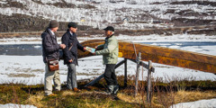 Jehovah's Witnesses share the Bible's message with a Saami man in Lapland