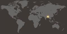 En världskarta där Bangladesh är markerat.