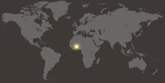 Mappemonde où est indiqué l'emplacement du Burkina Faso