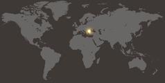 Bulgaria markatzen duen munduko mapa