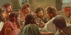 எஜமானின் இரவு விருந்தை இயேசு தன்னுடைய உண்மையுள்ள 11 அப்போஸ்தலர்களோடு ஆரம்பித்து வைக்கிறார்