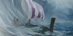 嵐の中,ヨナが乗っている船が海の上を漂っている。