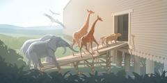 Slona, žirafi, leva in ptici gredo v barko