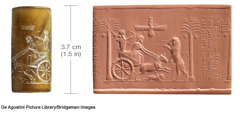 Cylindrical seal of Persian ruler Darius I hunting and a clay impression of the seal