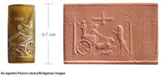 Cylindryczna pieczęć, która przedstawia perskiego władcę Dariusza Ina polowaniu, ijej odcisk wglinie