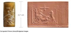 Selo cilíndrico que mostra o rei persa Dario I a caçar e uma impressão desse mesmo selo em argila