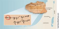 Úlomok hlineného črepu zo starovekej Samárie. Je na ňom nápis, ktorý toto územie spája s kmeňom Manašše.