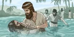 침례자 요한이 사람들에게 침례를 주는 모습.
