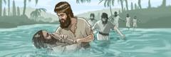 Yohanes Pembaptis membaptis orang.
