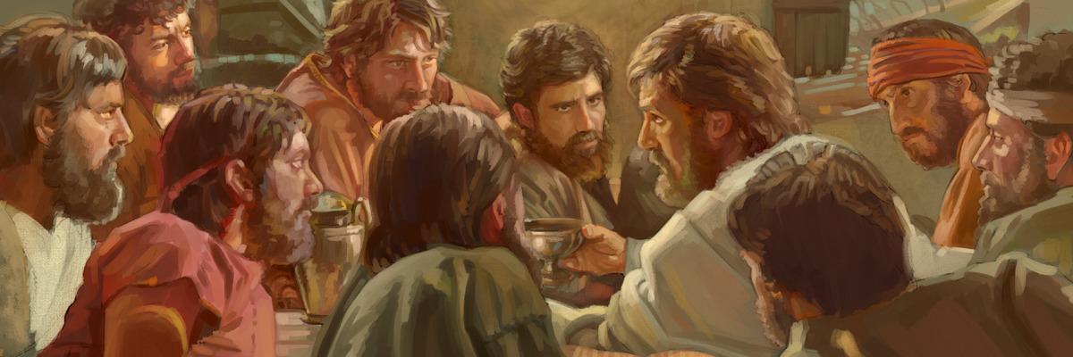 Jesus realizando a Ceia do Senhor com seus 11 apóstolos fiéis