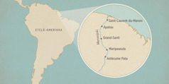 Etelä-Amerikan kartta, jossa suurennettuna Maronijoki ja sen varrella sijaitsevia kaupunkeja. Kaupungit pohjoisesta etelään: Saint-Laurent-du-Maroni, Apatou, Grand-Santi, Maripasoula ja Antécume Pata.