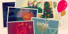 Ostereier, ein Weihnachtsbaum, Luftballons, ein neunarmiger jüdischer Leuchter, Drache und rote chinesische Laternen, Fledermäuse und eine Kürbislaterne mit eingeschnitztem Gesicht