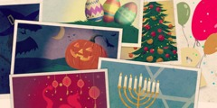 Easter eggs, a Christmas tree, balloons, a menorah, dragons and red Chinese lanterns, bats and  a jack-o'-lantern
