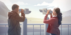 A husband and wife view scenery from two different directions