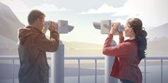 夫婦がそれぞれ異なる角度から同じ風景を見ている。