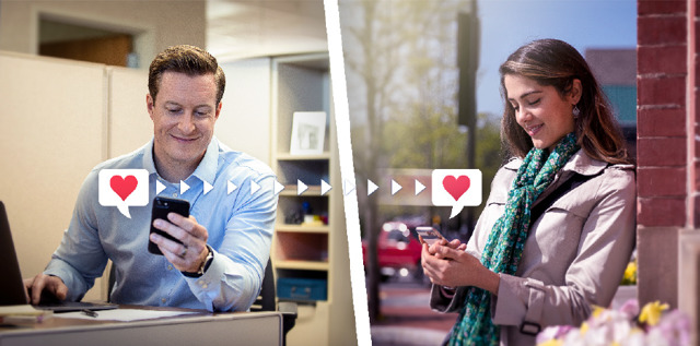 Durante el día, un esposo le envía un mensaje de texto cariñoso a su esposa.