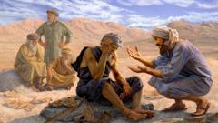 أليهو يتكلم مع ايوب بلطف ويعطيه كرامة، بعكس المعزين الزائفين الثلاثة الظاهرين في الخلفية